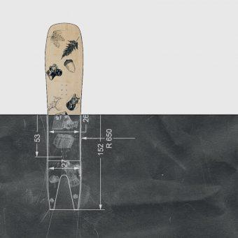 Moonchild Snowboards ilustracija tiskovine